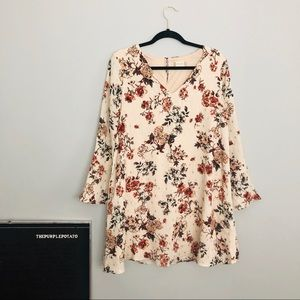 Altar'd State Cream Floral Bell Sleeve Shift Dress